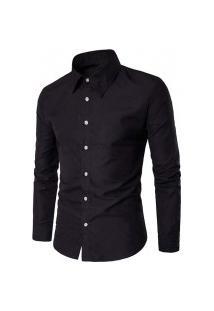 Camisa Masculina Slim Cor Sólida - Preta