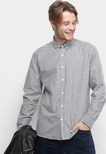 Camisa Manga Longa Mix Stripes Classic Button Masculina - Masculino-Preto