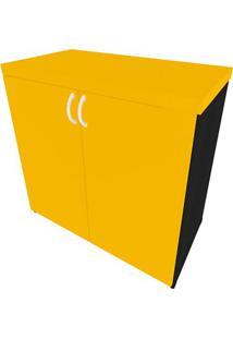 Armário De Escritório Natus 2 Pt Preto E Amarelo