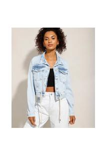 Jaqueta Cropped Jeans Com Cordão Na Barra Azul Claro