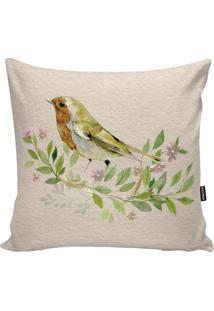 Capa Para Almofada Birds- Verde Claro & Bege- 45X45Cstm Home