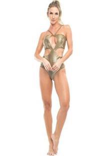 Body Com Bojo Vestem Feminino - Feminino-Dourado