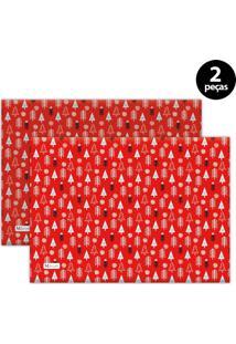 Jogo Americano Mdecore Natal Pinheiros 40X28 Cm Vermelho 2Pçs