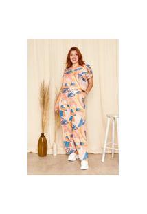 Calça Pantalona Almaria Plus Size Planchet Estampada Multicolorido