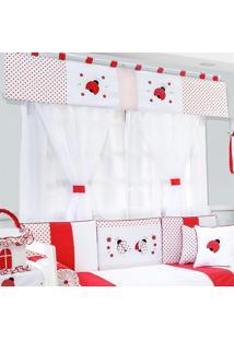 Cortina Dupla Padroeira Baby Joaninhas Vermelha - Vermelho - Menina - Dafiti