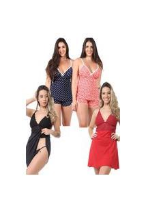 Pijama Isa Lingerie 2 Baby Doll Estampado 2 Camisolas Preto E Vermelho