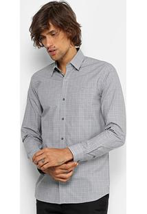 Camisa Lacoste Slim Fit Quadriculado Masculina - Masculino-Grafite