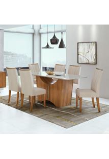 Conjunto Mesa Tampo De Vidro 6 Cadeiras Apogeu Móveis Lopas Rovere Naturale/Linho Rinzai Bege