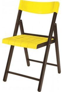 Cadeira Potenza Dobravel Tabaco Com Plastico Amarelo- 20644