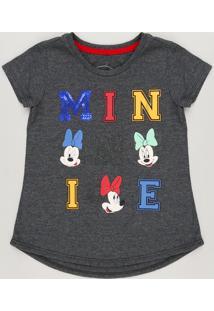 Blusa Infantil Minnie Com Paetê Manga Curta Decote Redondo Em Algodão + Sustentável Cinza Mescla Escuro
