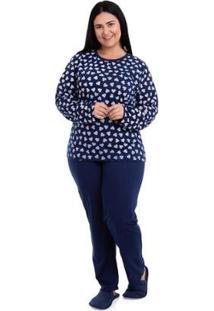 Pijama Longo De Inverno Plus Size Luna Cuore 1000 Plus Feminino - Feminino-Marinho