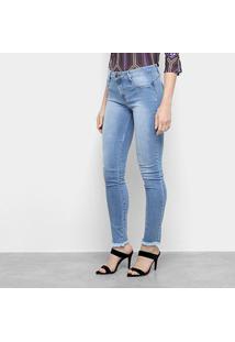 Calça Jeans Skinny Lança Perfume Desfiada Cintura Média Feminina - Feminino-Azul Claro