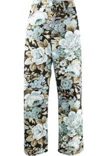 P.A.R.O.S.H. Calça Jeans Croppedcom Estampa Floral - Preto