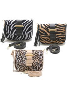 Kit 3 Bolsas Zart Ombro Mão Animal Zebra Onça Tigre - Kanui