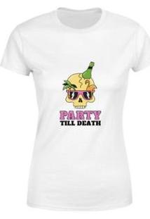 Blusa Blusinha Camiseta Caveira Party Goup Supply Feminina - Feminino