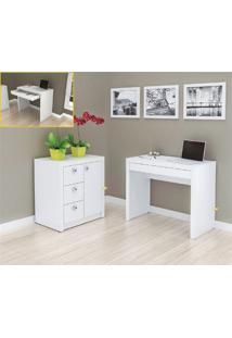 Mesa Para Computador Branca + Armário Baixo 3 Gavetas E 1 Porta