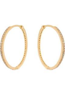 Brinco Argola Fina Cravejada Em Zircônias Brancas Folheada A Ouro 18K - Feminino-Dourado