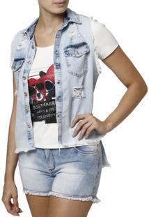Camisa Jeans Regata Feminina - Feminino