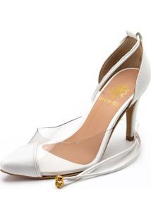 Sapato Scarpin Salto Alto Em Napa Branca Com Transparência - Kanui