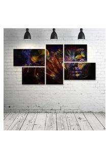 Quadro Decorativo - Psychedelic-Cg-Digital-Art - Composto De 5 Quadros