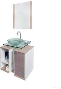 Gabinete Para Banheiro Cris Fit 90Cm Com Lavatório E Espelho Amadeirado Branco Cris-Metal