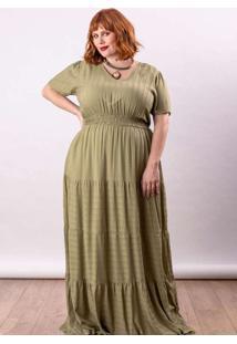 Vestido Longo Almaria Plus Size Lady More Viscose