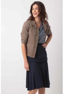 Jaqueta Com Bolsos Algodão Ervadoce Feminina - Feminino-Bege