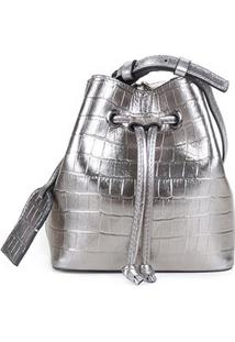 Bolsa Couro Shoestock Croco Bucket Belt Bag Feminina - Feminino-Prata