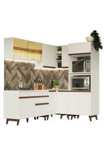 Cozinha Completa De Canto Madesa Reims 367001 Com Armário E Balcão Branco Cor:Branco