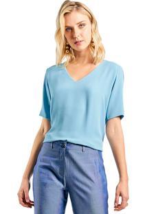 Blusa Mx Fashion Crepe Constance Azul Claro