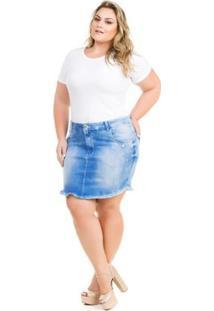 Saia Confidencial Extra Plus Size Jeans Com Elastano Feminina - Feminino-Azul