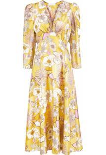 Sandro Paris Vestido Gola V Com Estampa Floral - Amarelo