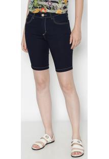Bermuda Jeans Com Bolsos Frontais - Azulmiss Bella