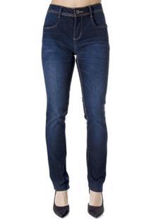 Calça Jeans Reta Calvin Klein - Feminino-Azul
