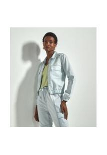 Jaqueta Jeans Lisa Com Elástico E Bolsos Frontais Comfy | Marfinno | Azul | Gg