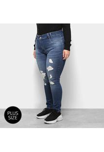 Calça Jeans Sawary Plus Size Cigarrete Rasgada Feminina - Feminino-Azul
