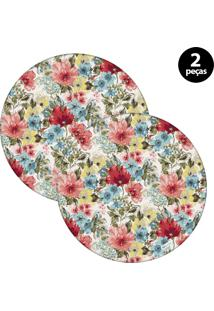 Sousplat Mdecore Floral 32X32Cm Colorido 2Pçs