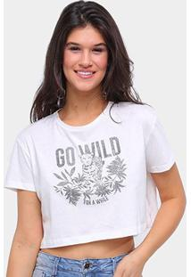 Camiseta Sommer Cropped Go Will Feminina - Feminino-Off White