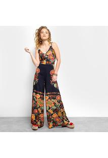 5608f12aca ... Macacão Farm Longo Pantalona Costas Cruzadas Canto Da Primavera -  Feminino-Preto+Vermelho