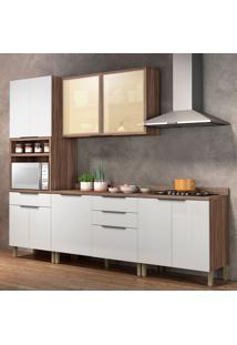 Cozinha Compacta Donna 9 Pt 4 Gv Branca E Nogal