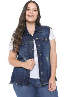 Colete Jeans Plus Size Da Cambos Azul