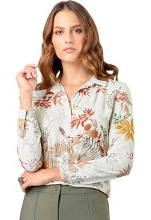 Camisa Mx Fashion Estampada Heloísa Bege
