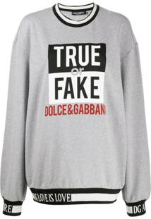 Dolce & Gabbana Suéter Oversized De Tricô Com Slogan - Cinza