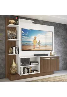 Estante Home Theater Para Tv Até 55 Pol. Denver Multimóveis Argila Acetinado Com Branco Texturizado