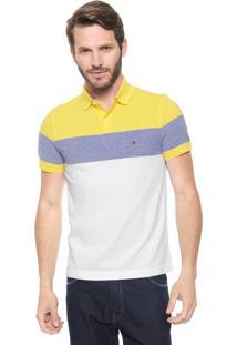 Camisa Polo Tommy Hilfiger Reta Dylan Amarela/Branca