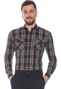 Camisa Hugo Rossi Xadrez Marrom