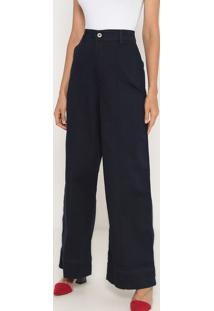 Jeans Pantalona Com Nervuras- Azul Escuro- Ennaenna