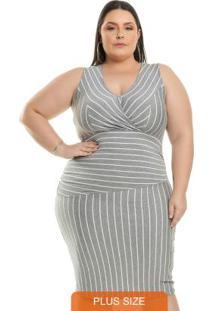 Vestido Assimétrico Cinza Miss Masy Plus