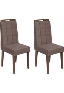Conjunto De Cadeiras De Jantar 2 Nevada Linho Imbuia E Chocolate