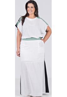Conjunto De Saia Longa E Blusa Em Viscolinho Com Elastano Branco - Plus Size